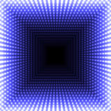 LED mirror abstract square background. Blue blazing lights fading to the center. Royalty Free Stock Photo