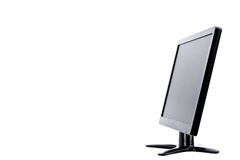 LED monitor computer display of side on white background  hardware  desktop technology isolated Royalty Free Stock Photography