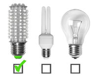 Led, neon and tungsten bulbs. With checkboxes royalty free stock photography