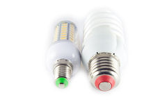 Led, neon and tungsten bulbs with check-boxes. Stock Photo