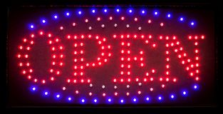 Led Open Sign, Bright Shining Symbol For Nightclubs, Restaurants Royalty Free Stock Image