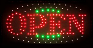 Led open sign, bright shining symbol for nightclubs, stores and Royalty Free Stock Photo