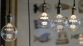 LED pendant lights with round glass balls, brass sockets, glowing, hanging from the ceiling. On display stock image