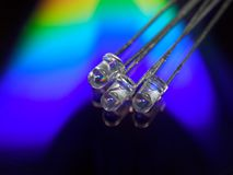 Led rainbow. Three light-emitting diodes, led Royalty Free Stock Photo