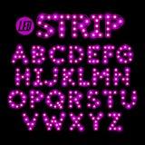 LED ribbon strip light font. LED ribbon strip light alphabet Royalty Free Stock Photo