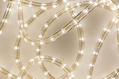 LED Rope Light. Macro Close Up of Twisted and Messy  LED Light Rope Royalty Free Stock Image
