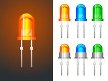 LED rosso, verde e blu - di vetro e metallico Immagini Stock Libere da Diritti