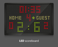 LED scoreboard. For sport games. Illustrated on gray background Stock Image
