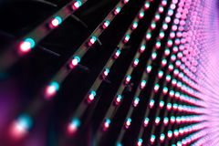 Led screen detail. Lights led bulb detail. Close up panel of stage lighs equipment stock photos