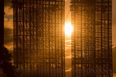 Led screen display in the sunset Royalty Free Stock Photography
