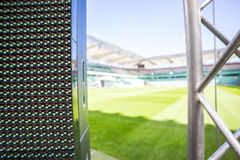 Led screen on stadium before an event Royalty Free Stock Image