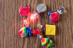 Led Series and colored insulating taper with flat batteries. Educational electronic activity for children Royalty Free Stock Image