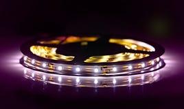 Led shining diode lights. Strip. Stock Photo