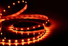 Led shining diode lights. Strip. Royalty Free Stock Photo