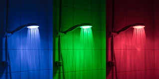 LED Shower head. A LED light shower head that changes color depending on what heat you set on the water royalty free stock photo