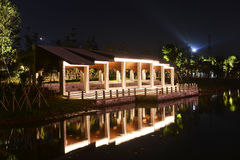 Led spot light in park Royalty Free Stock Photo