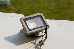LED spotlight. Outside building for night Stock Photography