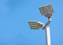 LED street lamps post on blue sky b