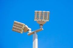 LED street lamps post on white Royalty Free Stock Images