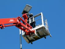 LED street ligh maintenance at high level from hydraulic lift. Street ligh maintenance at high level from hydraulic lift and platform. high elevation work stock photography