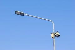 LED street light bulb and CCTV Camera Royalty Free Stock Photos
