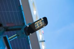 LED street light post with solar cell panel.  Stock Images