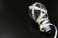 LED strip on the filament lamp Stock Image