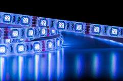 Led strip lights, blue color. Energy saving royalty free stock photos