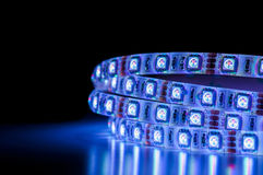 Led strip lights, blue color Stock Image