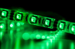 Led strip lights, green color Royalty Free Stock Photo