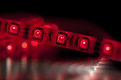Led strip lights, red color Royalty Free Stock Photo