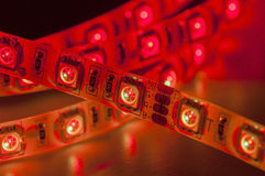 Led strip lights, red color, close up Stock Photo