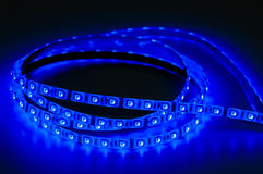 Led strip lights. Rgb, blue color Stock Photography
