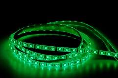 Led strip lights rgb. Led strip lights, green color royalty free stock photos