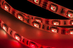 Led strip lights rgb, red color Royalty Free Stock Photos