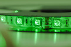 Led strip rgb, green color Royalty Free Stock Photos