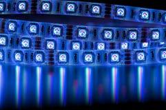Led strip rgb lights, blue color Royalty Free Stock Image