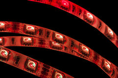 Led strip rgb, red color Royalty Free Stock Photo