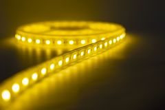 LED strip warm light.lighting for home and offices.artificial soft  light stock images