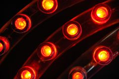 Led strips. Closeup red LED strips on black background Royalty Free Stock Photography