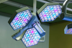 LED surgical lights system in operating room. Illuminating the operating table for the surgeon. Healthcare, surgery, medical technology concept Stock Photography