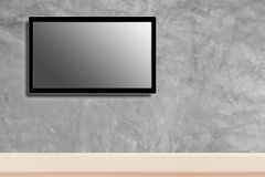 LED television screen mockup, blank hdtv on concrete wall in the room.  stock photography