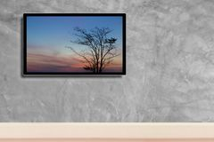 LED television, with silhouette of tree in hdtv on concrete wall in the room.  stock photography