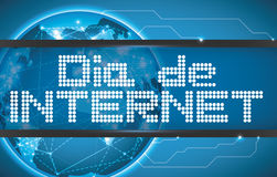 Led Text with Digital Globe Commemorating Internet Day in Spanish, Vector Illustration Royalty Free Stock Image