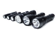 Flashlights for camping in different sizes royalty free stock images