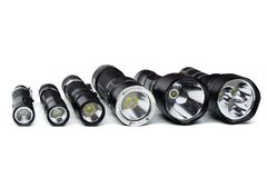 Flashlights for camping in different sizes royalty free stock photos
