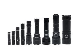 Flashlights for camping in different sizes stock image