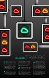 LED Traffic Light with Cloud symbol, Technology online server concept poster or flyer template layout design illustration isolated. On grey gradients background stock illustration
