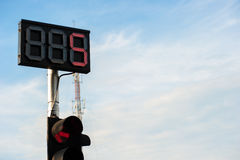 LED traffic light number five. Show with cloud sky is background Royalty Free Stock Photo