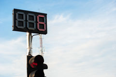 LED traffic light number six. Show with cloud sky is background Stock Images